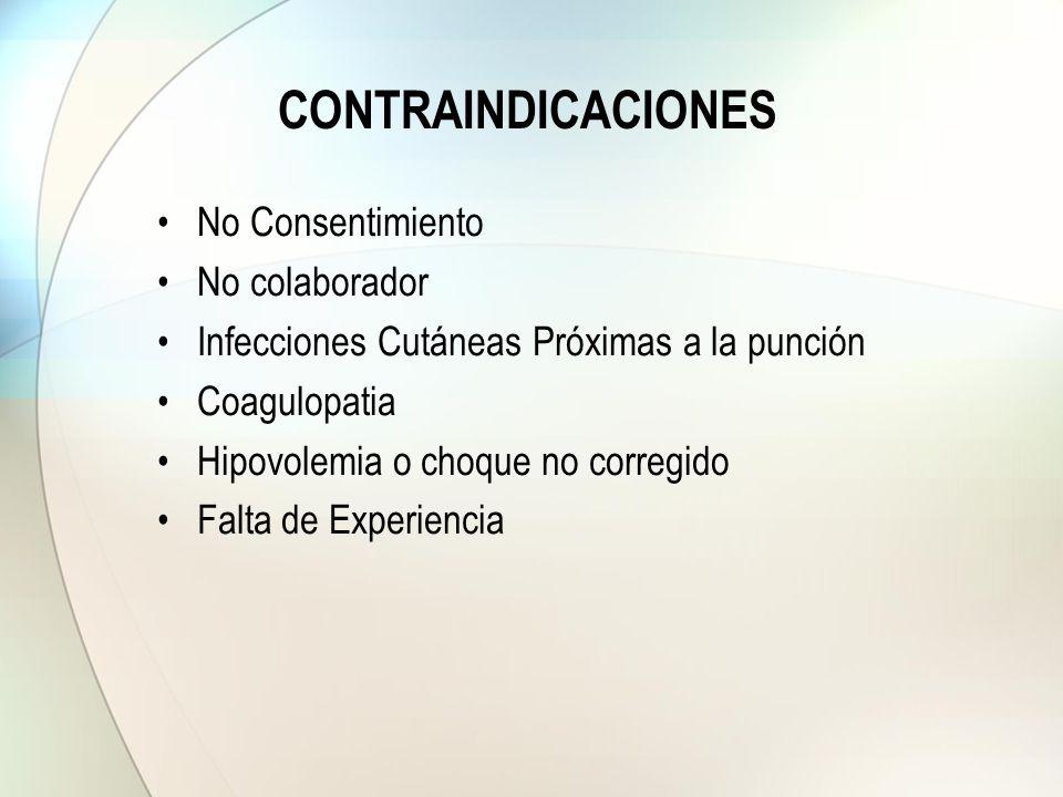 CONTRAINDICACIONES No Consentimiento No colaborador Infecciones Cutáneas Próximas a la punción Coagulopatia Hipovolemia o choque no corregido Falta de