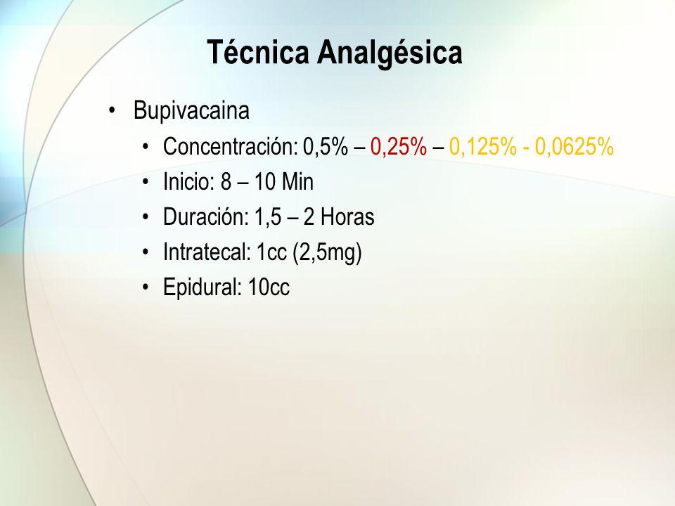 Técnica Analgésica Bupivacaina Concentración: 0,5% – 0,25% – 0,125% - 0,0625% Inicio: 8 – 10 Min Duración: 1,5 – 2 Horas Intratecal: 1cc (2,5mg) Epidu