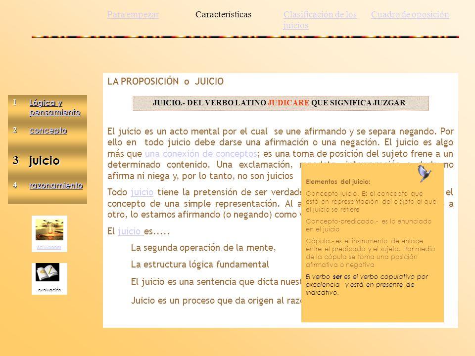 Actividades evaluación 1 Lógica y pensamiento Lógica y pensamiento2 concepto 3juicio 4 razonamiento LA PROPOSICIÓN o JUICIO El juicio es un acto menta