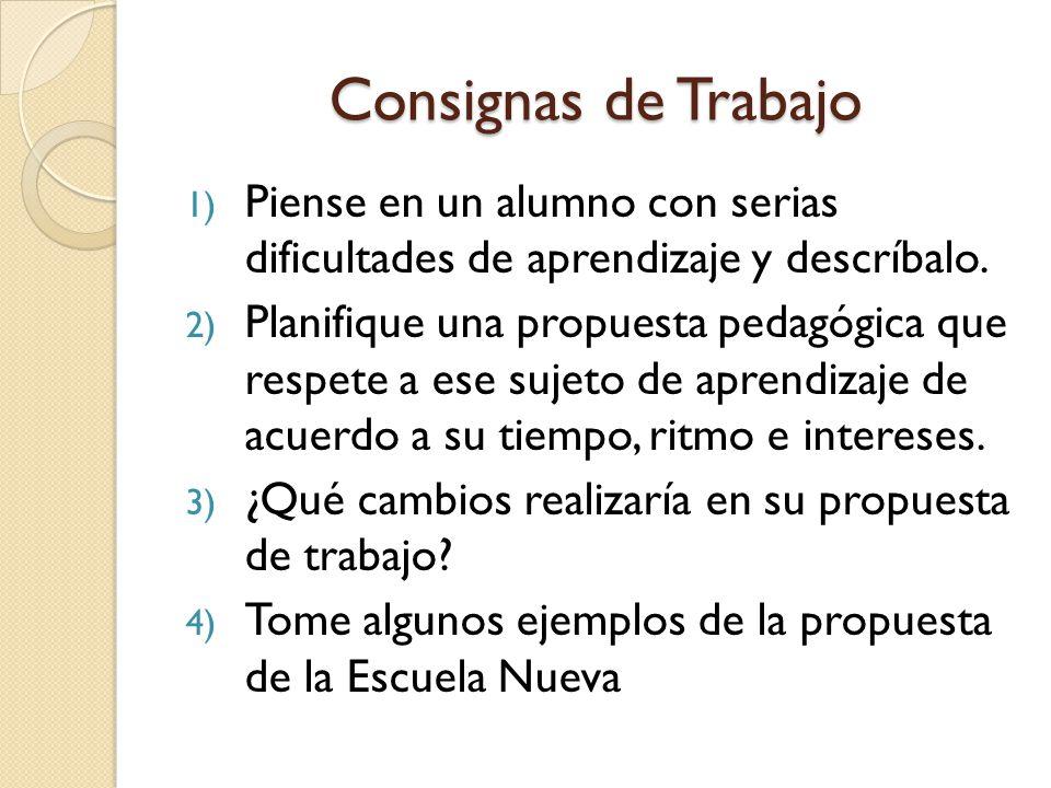 Consignas de Trabajo 1) Piense en un alumno con serias dificultades de aprendizaje y descríbalo.