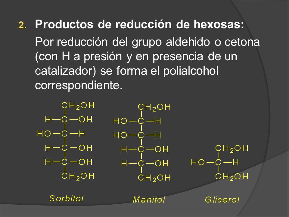 2. Productos de reducción de hexosas: Por reducción del grupo aldehido o cetona (con H a presión y en presencia de un catalizador) se forma el polialc