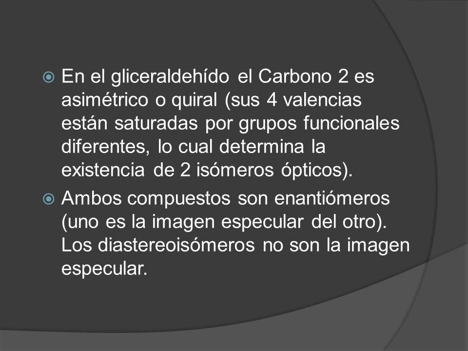 En el gliceraldehído el Carbono 2 es asimétrico o quiral (sus 4 valencias están saturadas por grupos funcionales diferentes, lo cual determina la exis