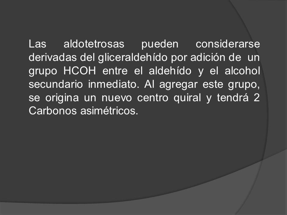 Las aldotetrosas pueden considerarse derivadas del gliceraldehído por adición de un grupo HCOH entre el aldehído y el alcohol secundario inmediato. Al