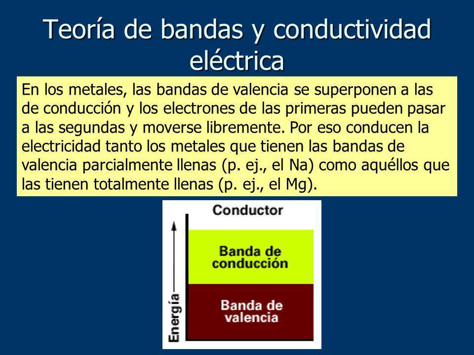 En los metales, las bandas de valencia se superponen a las de conducción y los electrones de las primeras pueden pasar a las segundas y moverse librem