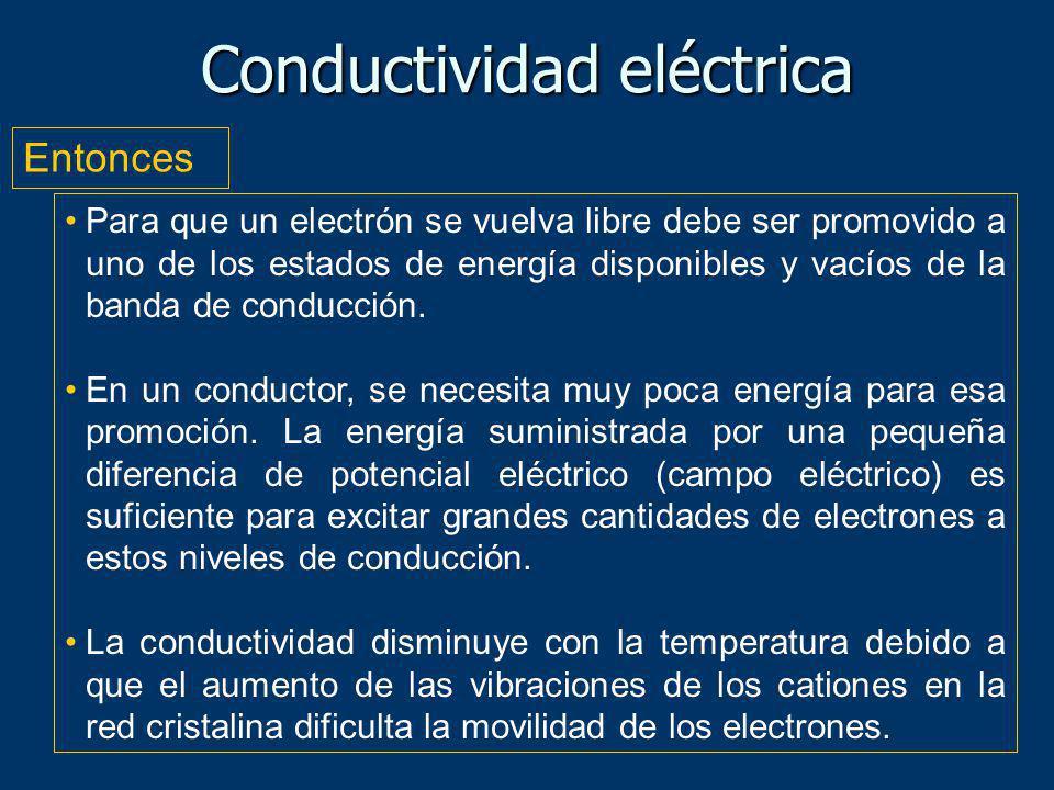 Para que un electrón se vuelva libre debe ser promovido a uno de los estados de energía disponibles y vacíos de la banda de conducción. En un conducto
