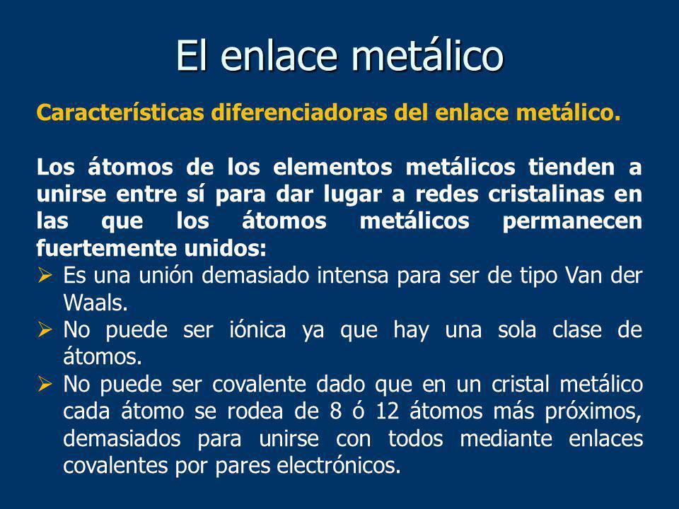 Hay por tanto un nuevo tipo de enlace que llamamos metálico y que tiene las siguientes características: Se da en los estados líquido y sólido, pero no en el estado gaseoso.
