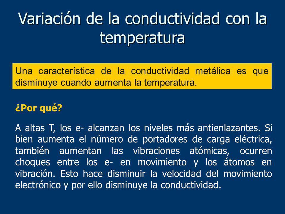 Una característica de la conductividad metálica es que disminuye cuando aumenta la temperatura. Variación de la conductividad con la temperatura ¿Por