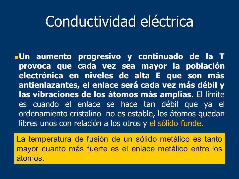Conductividad eléctrica Un aumento progresivo y continuado de la T provoca que cada vez sea mayor la población electrónica en niveles de alta E que so