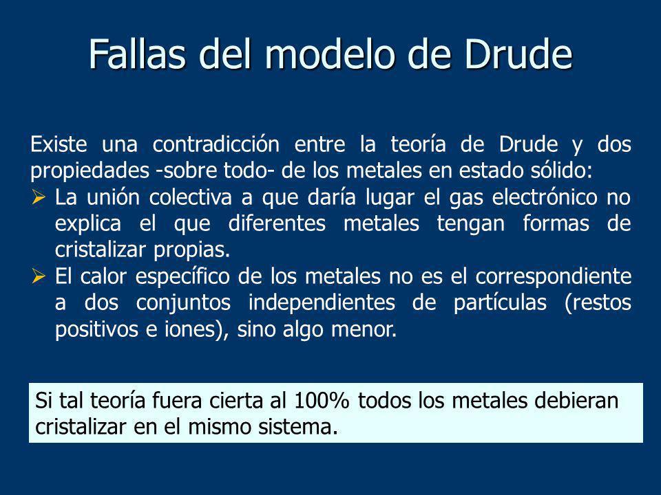 Existe una contradicción entre la teoría de Drude y dos propiedades -sobre todo- de los metales en estado sólido: La unión colectiva a que daría lugar