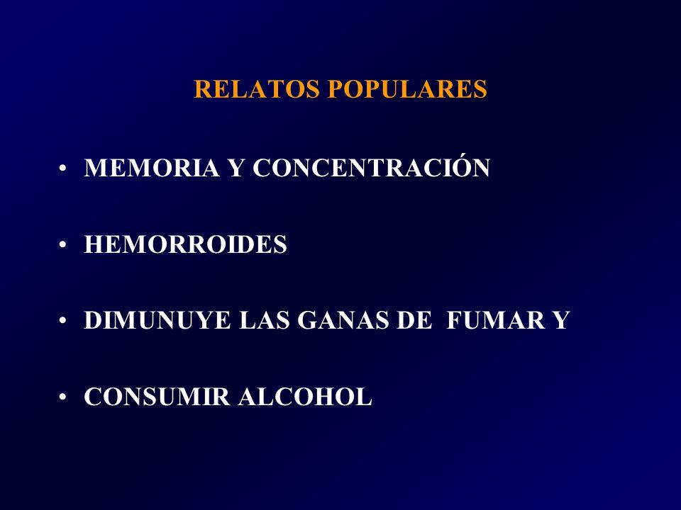 RELATOS POPULARES MEMORIA Y CONCENTRACIÓN HEMORROIDES DIMUNUYE LAS GANAS DE FUMAR Y CONSUMIR ALCOHOL