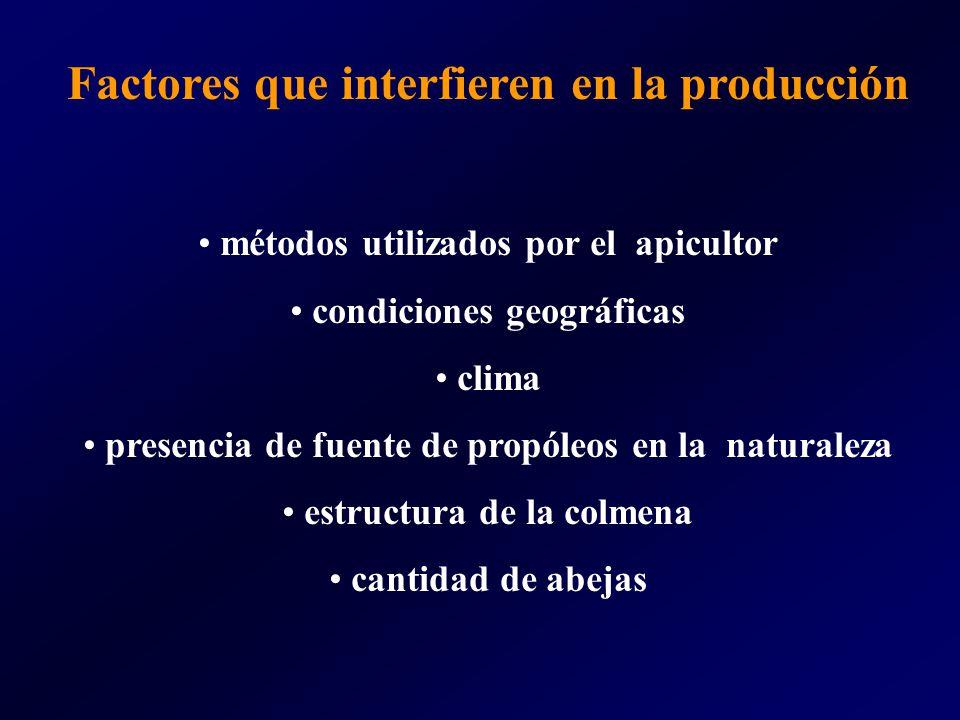 Factores que interfieren en la producción métodos utilizados por el apicultor condiciones geográficas clima presencia de fuente de propóleos en la nat