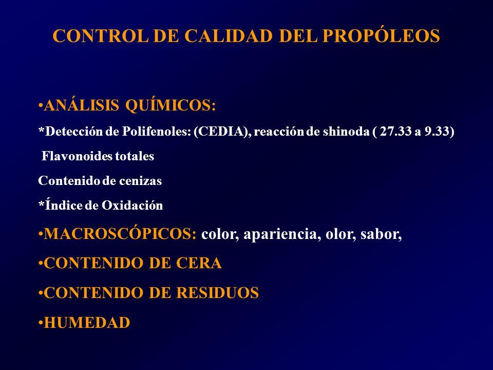 CONTROL DE CALIDAD DEL PROPÓLEOS ANÁLISIS QUÍMICOS: *Detección de Polifenoles: (CEDIA), reacción de shinoda ( 27.33 a 9.33) Flavonoides totales Contenido de cenizas *Índice de Oxidación MACROSCÓPICOS: color, apariencia, olor, sabor, CONTENIDO DE CERA CONTENIDO DE RESIDUOS HUMEDAD