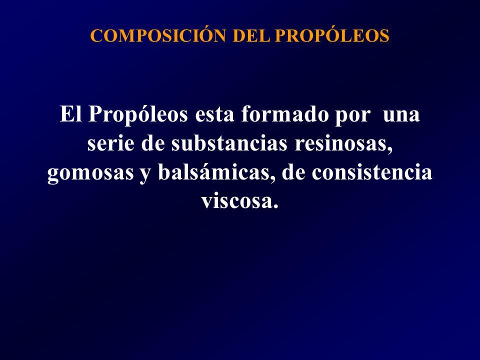 El Propóleos esta formado por una serie de substancias resinosas, gomosas y balsámicas, de consistencia viscosa. COMPOSICIÓN DEL PROPÓLEOS