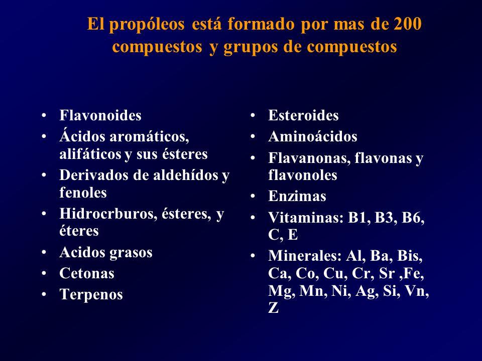 El propóleos está formado por mas de 200 compuestos y grupos de compuestos Flavonoides Ácidos aromáticos, alifáticos y sus ésteres Derivados de aldehídos y fenoles Hidrocrburos, ésteres, y éteres Acidos grasos Cetonas Terpenos Esteroides Aminoácidos Flavanonas, flavonas y flavonoles Enzimas Vitaminas: B1, B3, B6, C, E Minerales: Al, Ba, Bis, Ca, Co, Cu, Cr, Sr,Fe, Mg, Mn, Ni, Ag, Si, Vn, Z