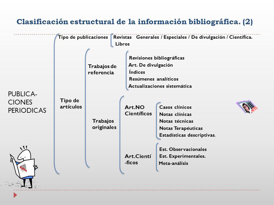 Clasificación estructural de la información bibliográfica. (2) Tipo de publicaciones Revistas Generales / Especiales / De divulgación / Científica. Li