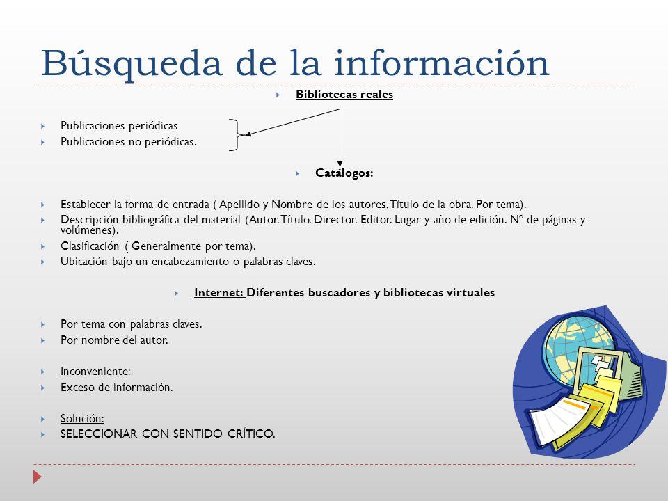 Búsqueda de la información Bibliotecas reales Publicaciones periódicas Publicaciones no periódicas. Catálogos: Establecer la forma de entrada ( Apelli