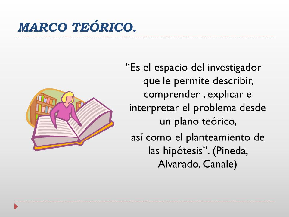 MARCO TEÓRICO. Es el espacio del investigador que le permite describir, comprender, explicar e interpretar el problema desde un plano teórico, así com