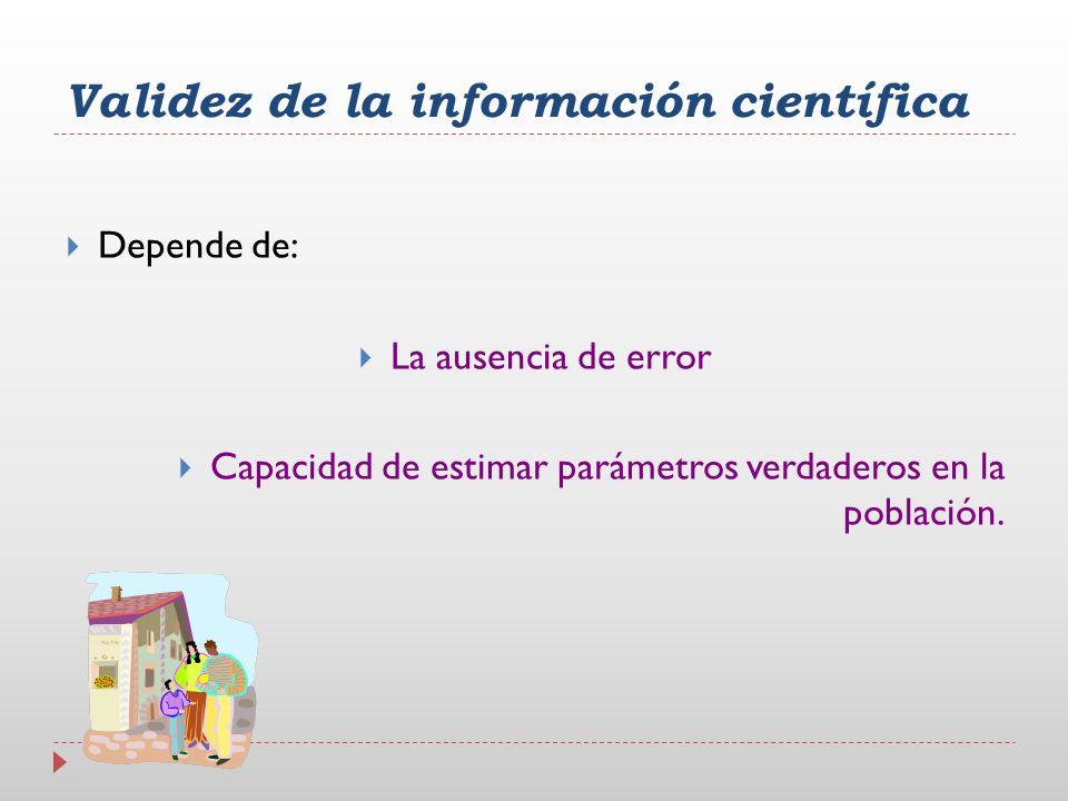 Depende de: La ausencia de error Capacidad de estimar parámetros verdaderos en la población. Validez de la información científica