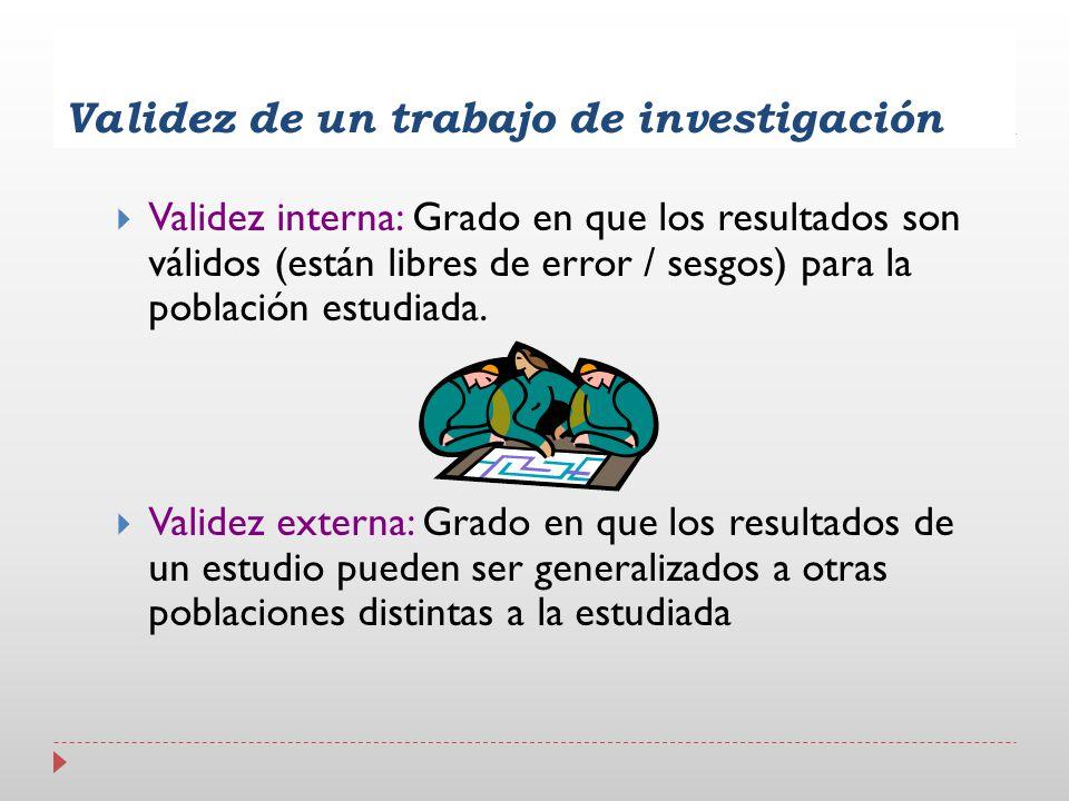 Validez de un trabajo de investigación Validez interna: Grado en que los resultados son válidos (están libres de error / sesgos) para la población est