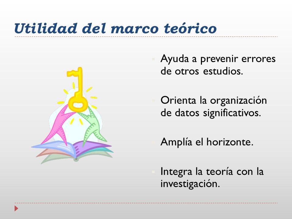 Utilidad del marco teórico Ayuda a prevenir errores de otros estudios. Orienta la organización de datos significativos. Amplía el horizonte. Integra l