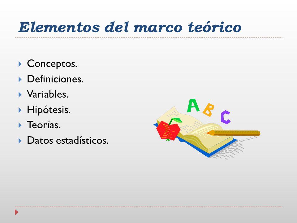 Elementos del marco teórico Conceptos. Definiciones. Variables. Hipótesis. Teorías. Datos estadísticos.