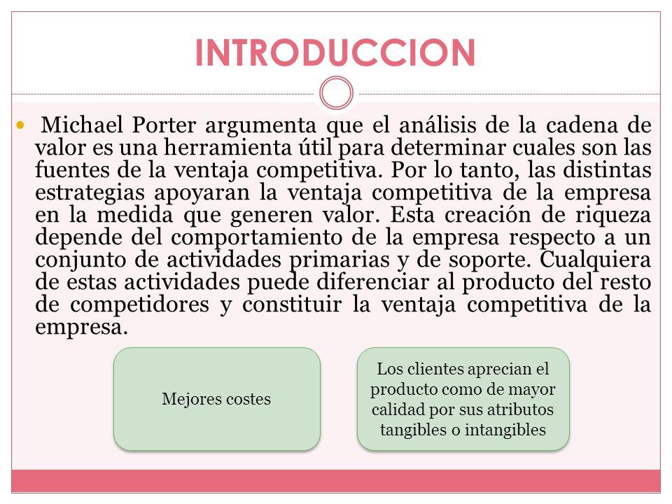 INTRODUCCION Michael Porter argumenta que el análisis de la cadena de valor es una herramienta útil para determinar cuales son las fuentes de la venta