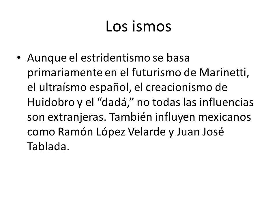 Los ismos Aunque el estridentismo se basa primariamente en el futurismo de Marinetti, el ultraísmo español, el creacionismo de Huidobro y el dadá, no todas las influencias son extranjeras.