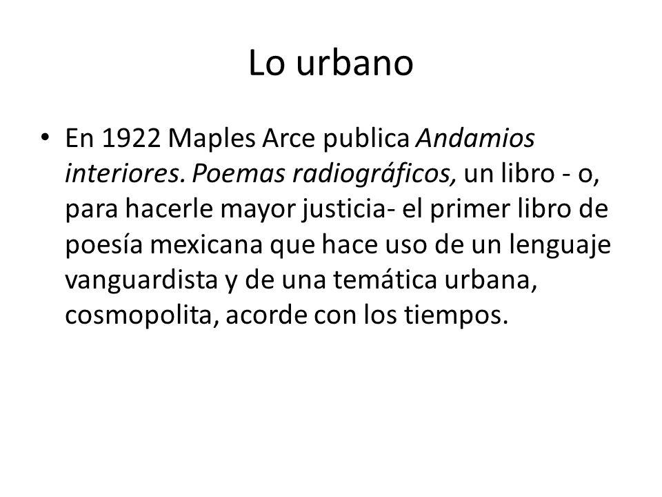 Lo urbano En 1922 Maples Arce publica Andamios interiores.