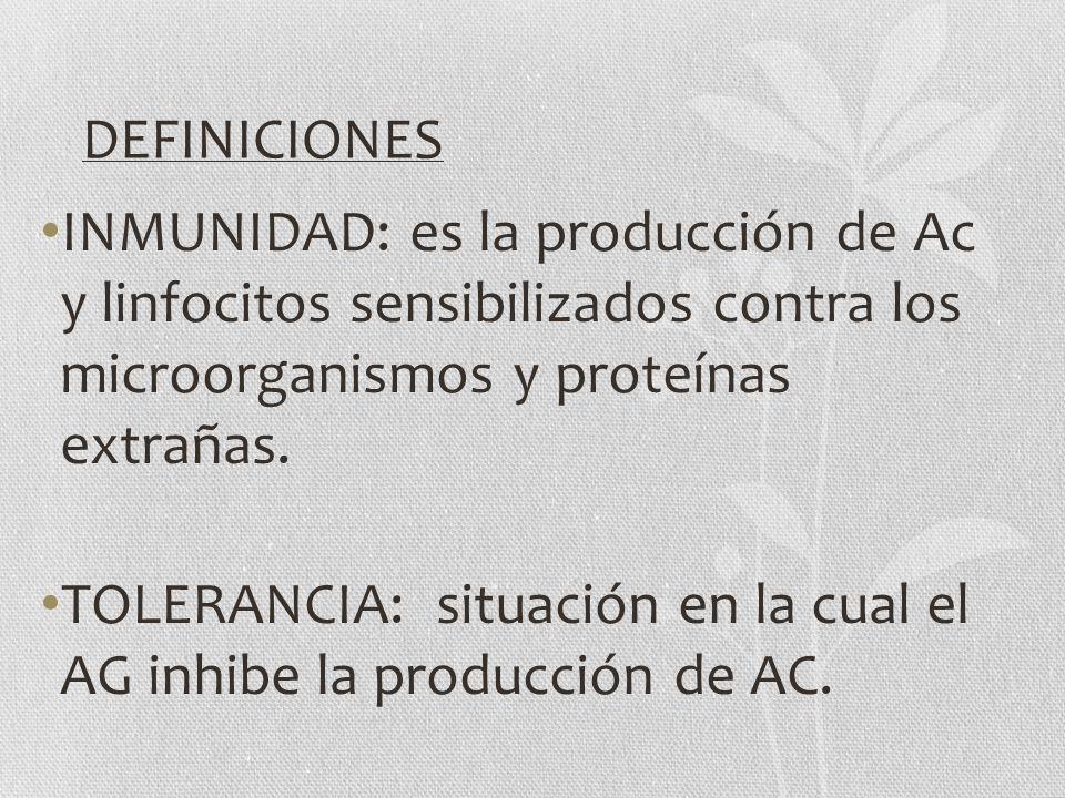 DEFINICIONES INMUNIDAD: es la producción de Ac y linfocitos sensibilizados contra los microorganismos y proteínas extrañas. TOLERANCIA: situación en l