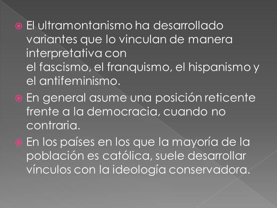 El ultramontanismo ha desarrollado variantes que lo vinculan de manera interpretativa con el fascismo, el franquismo, el hispanismo y el antifeminismo.