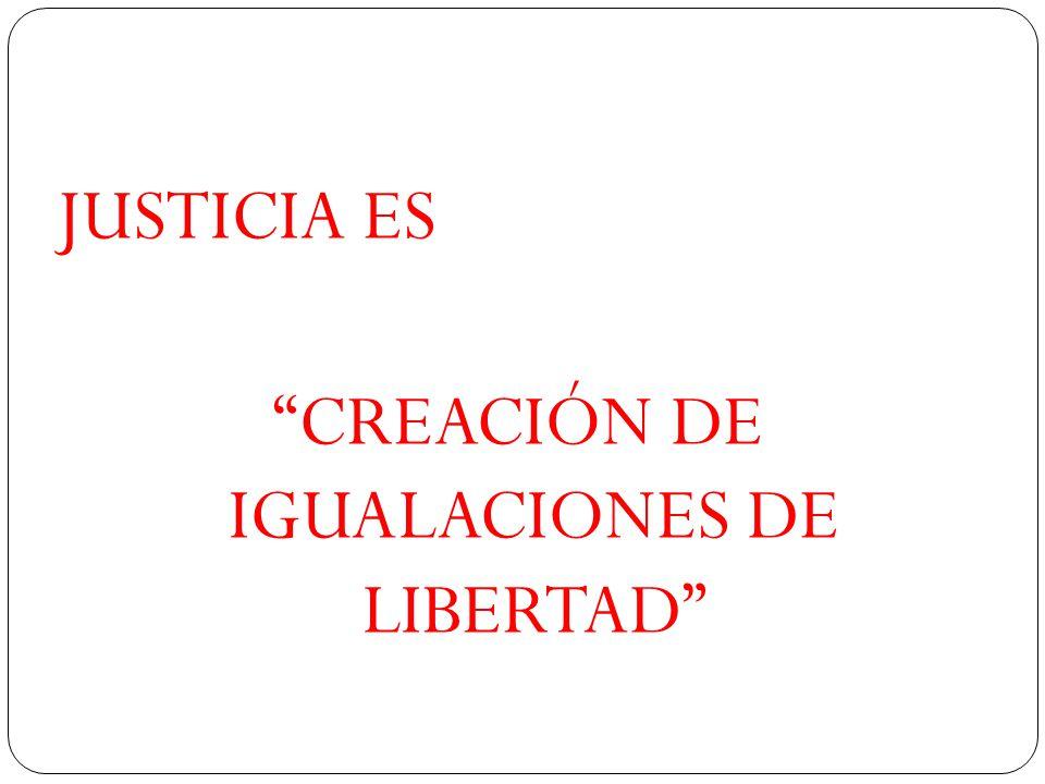 JUSTICIA ES CREACIÓN DE IGUALACIONES DE LIBERTAD