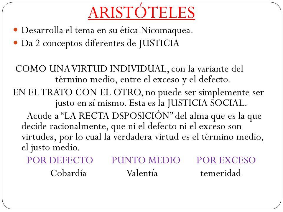 ARISTÓTELES Desarrolla el tema en su ética Nicomaquea. Da 2 conceptos diferentes de JUSTICIA COMO UNA VIRTUD INDIVIDUAL, con la variante del término m