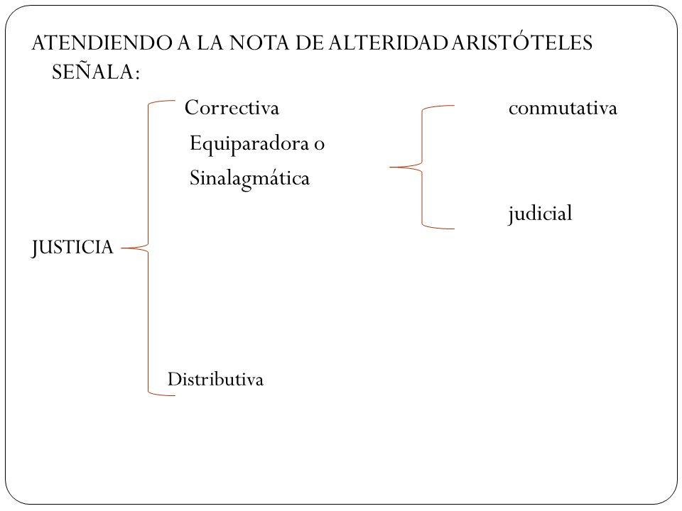 ATENDIENDO A LA NOTA DE ALTERIDAD ARISTÓTELES SEÑALA: Correctivaconmutativa Equiparadora o Sinalagmática judicial JUSTICIA Distributiva