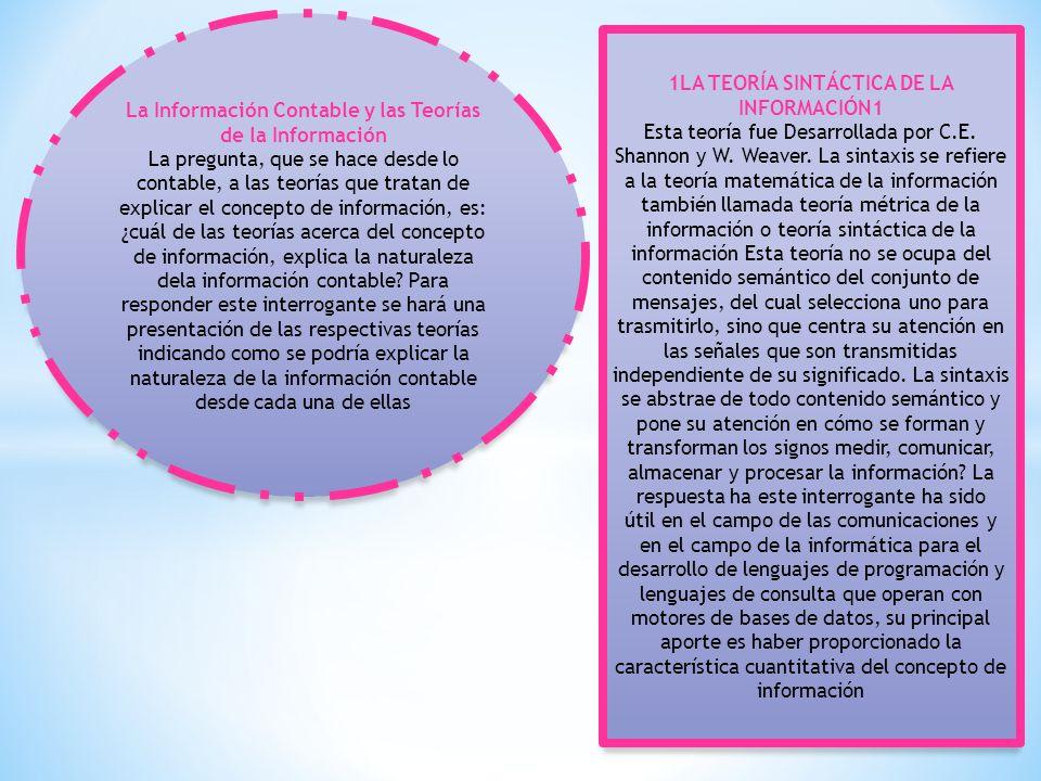La Información Contable y las Teorías de la Información La pregunta, que se hace desde lo contable, a las teorías que tratan de explicar el concepto de información, es: ¿cuál de las teorías acerca del concepto de información, explica la naturaleza dela información contable.