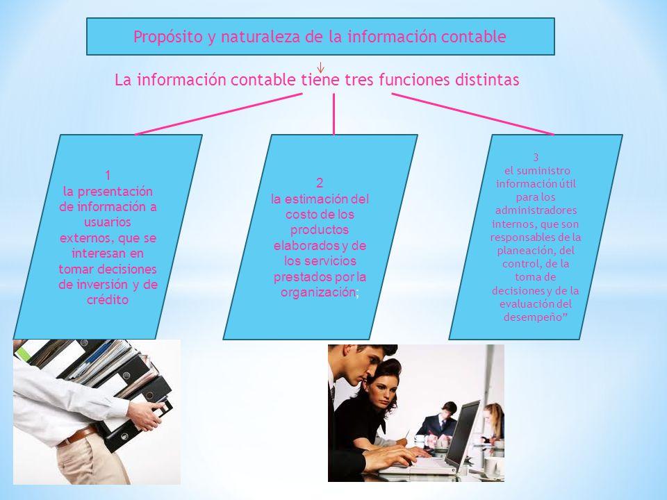 Propósito y naturaleza de la información contable La información contable tiene tres funciones distintas 1 la presentación de información a usuarios e
