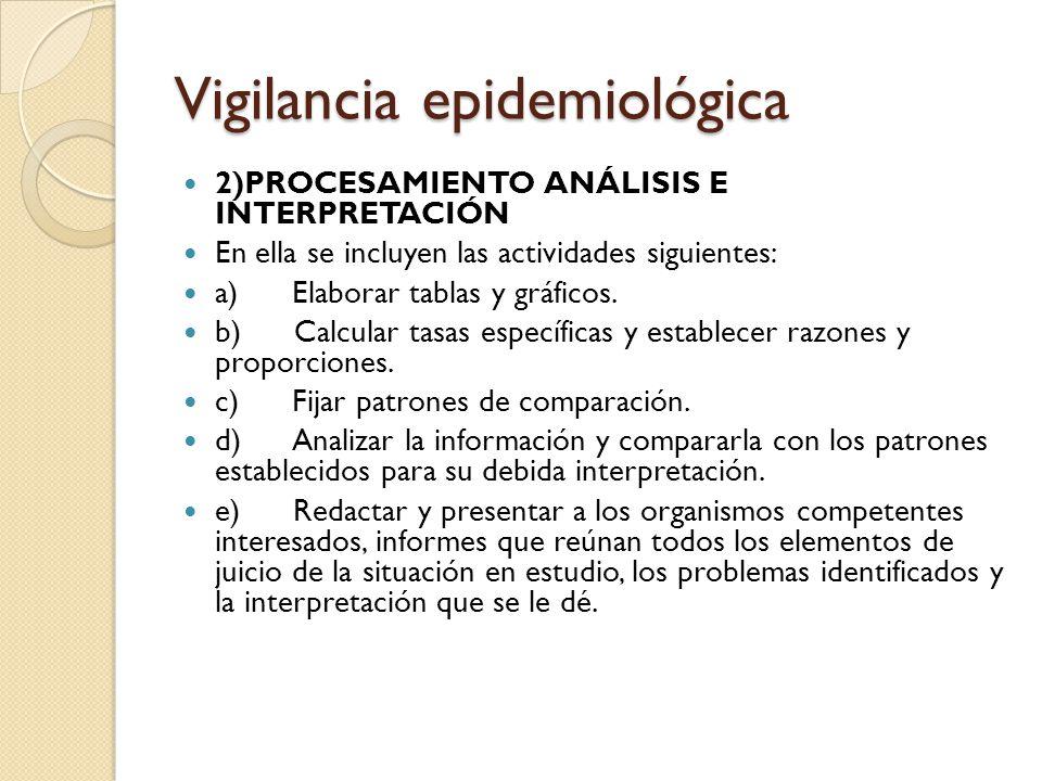 Vigilancia epidemiológica 2)PROCESAMIENTO ANÁLISIS E INTERPRETACIÓN En ella se incluyen las actividades siguientes: a) Elaborar tablas y gráficos. b)