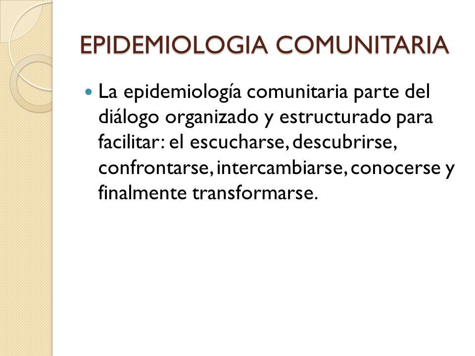 EPIDEMIOLOGIA COMUNITARIA La epidemiología comunitaria parte del diálogo organizado y estructurado para facilitar: el escucharse, descubrirse, confron