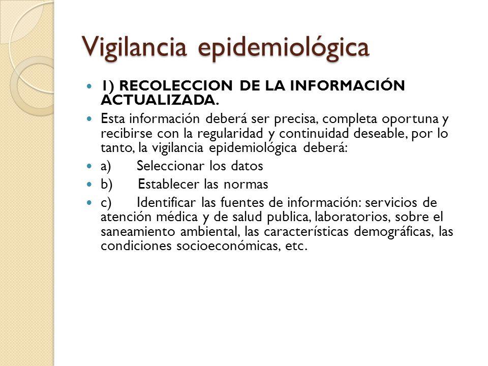 Vigilancia epidemiológica 1) RECOLECCION DE LA INFORMACIÓN ACTUALIZADA. Esta información deberá ser precisa, completa oportuna y recibirse con la regu