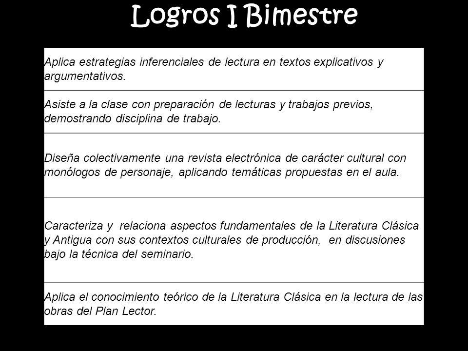 Logros I Bimestre Aplica estrategias inferenciales de lectura en textos explicativos y argumentativos.