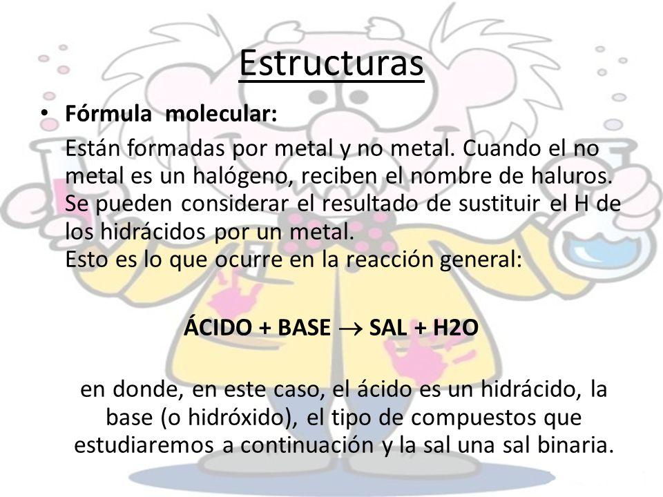 Estructuras Fórmula molecular: Están formadas por metal y no metal. Cuando el no metal es un halógeno, reciben el nombre de haluros. Se pueden conside