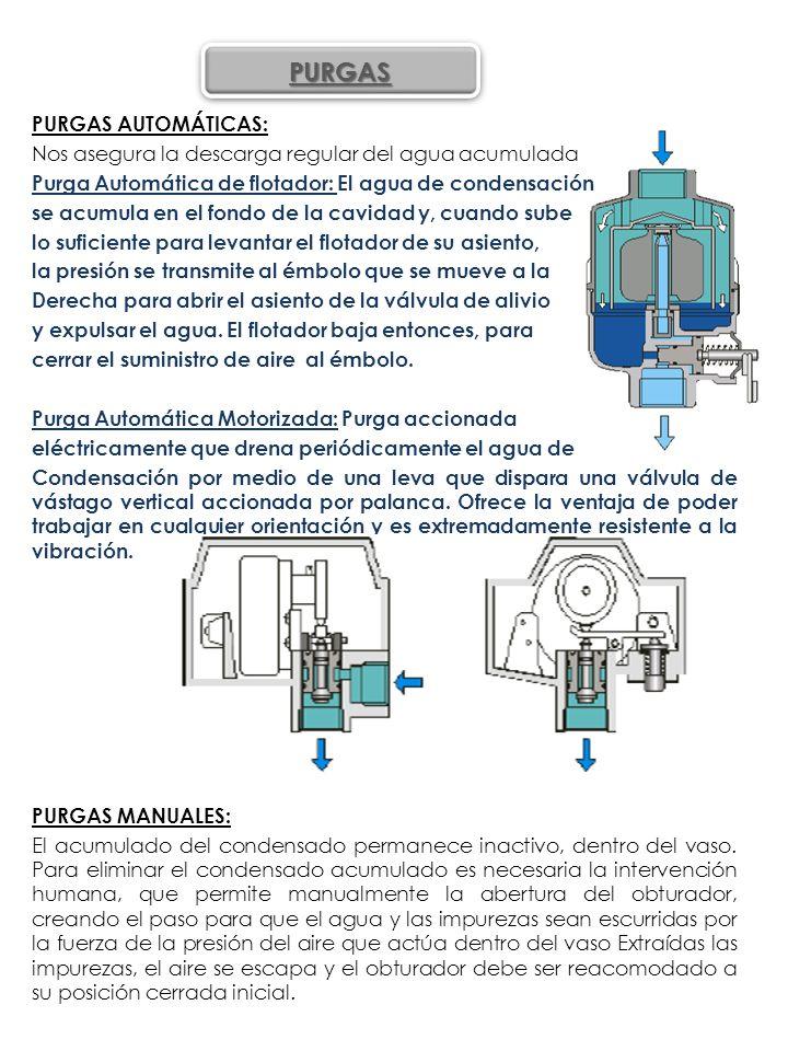 PURGAS AUTOMÁTICAS: Nos asegura la descarga regular del agua acumulada Purga Automática de flotador: El agua de condensación se acumula en el fondo de