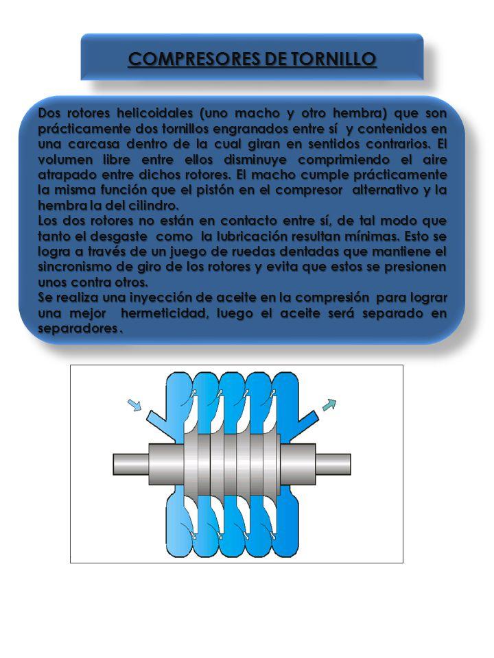 COMPRESORES DE TORNILLO Dos rotores helicoidales (uno macho y otro hembra) que son prácticamente dos tornillos engranados entre sí y contenidos en una