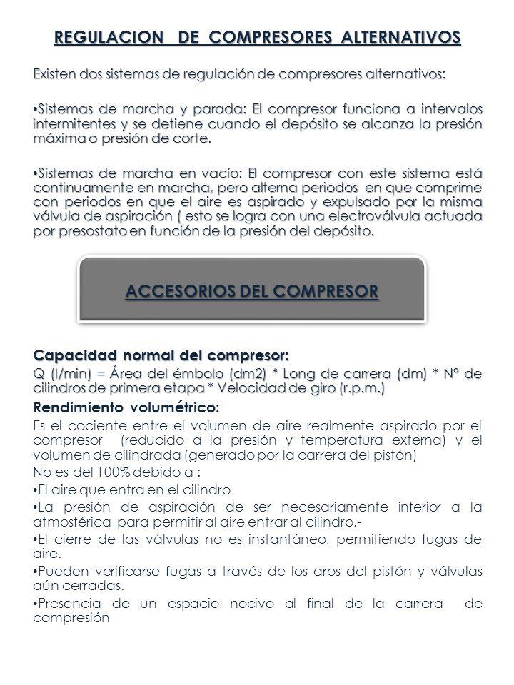 REGULACION DE COMPRESORES ALTERNATIVOS Existen dos sistemas de regulación de compresores alternativos: Sistemas de marcha y parada: El compresor funci