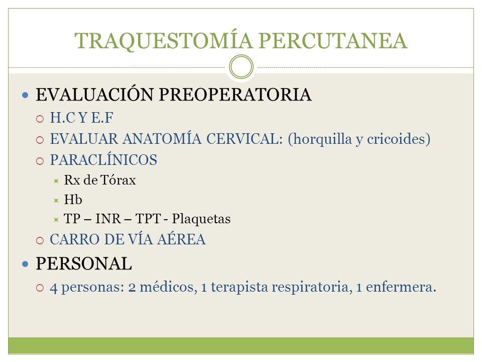 TRAQUESTOMÍA PERCUTANEA EVALUACIÓN PREOPERATORIA H.C Y E.F EVALUAR ANATOMÍA CERVICAL: (horquilla y cricoides) PARACLÍNICOS Rx de Tórax Hb TP – INR – T