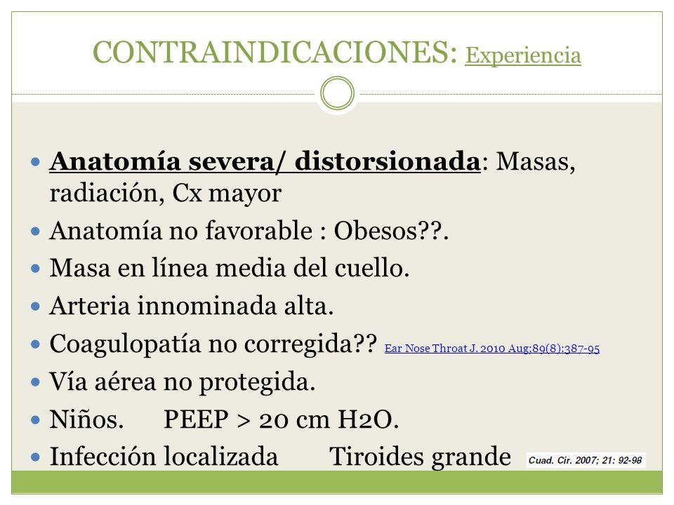 CONTRAINDICACIONES: Experiencia Anatomía severa/ distorsionada: Masas, radiación, Cx mayor Anatomía no favorable : Obesos??. Masa en línea media del c