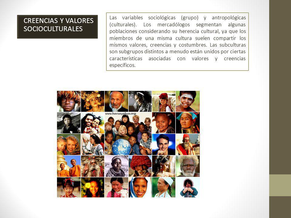CREENCIAS Y VALORES SOCIOCULTURALES Las variables sociológicas (grupo) y antropológicas (culturales).