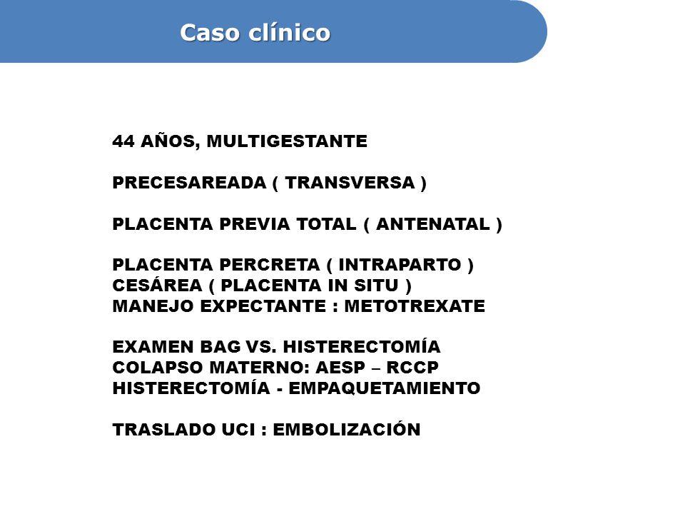 44 AÑOS, MULTIGESTANTE PRECESAREADA ( TRANSVERSA ) PLACENTA PREVIA TOTAL ( ANTENATAL ) PLACENTA PERCRETA ( INTRAPARTO ) CESÁREA ( PLACENTA IN SITU ) M