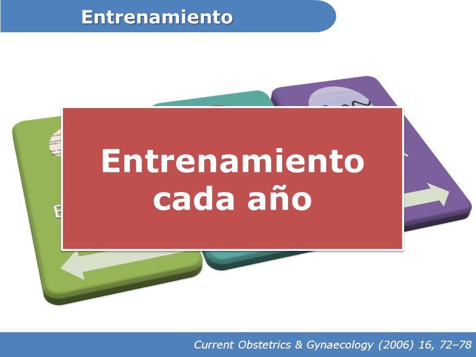 Entrenamiento Current Obstetrics & Gynaecology (2006) 16, 72–78 Entrenamiento cada año