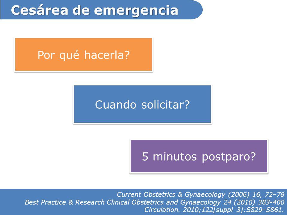 Cesárea de emergencia Cuando solicitar? 5 minutos postparo? Por qué hacerla? Current Obstetrics & Gynaecology (2006) 16, 72–78 Best Practice & Researc