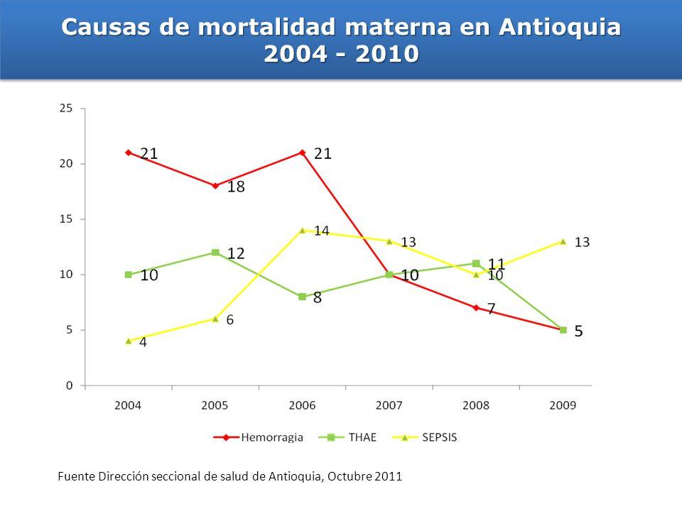 Causas de mortalidad materna en Antioquia 2004 - 2010 Causas de mortalidad materna en Antioquia 2004 - 2010 Fuente Dirección seccional de salud de Ant